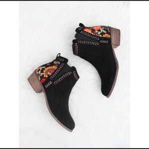 Faux Suede Floral Embroidered Booties w/ Low Heel